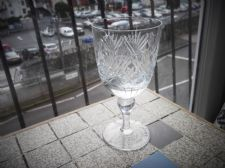 ELEGANT VINTAGE LARGE CUT CRYSTAL WINE GLASS WEBB CORBETT ETCHED NAN DEEP CUT
